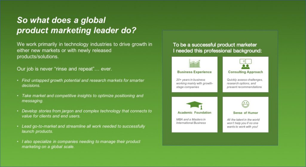 What does a global product marketing leader do?